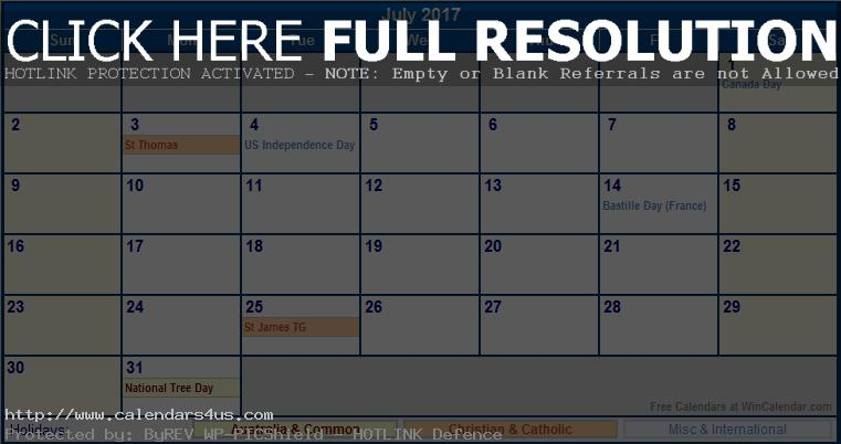 July 2017 Calendar NZ