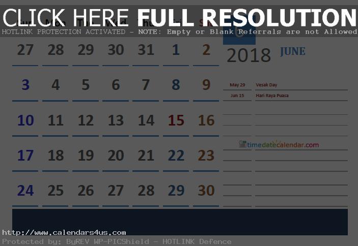 June India Calendar 2018