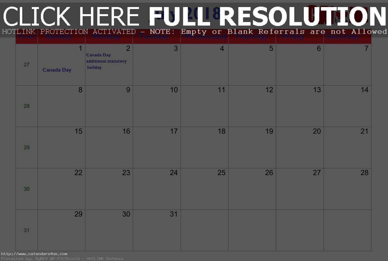 July Calendar 2018 Canada