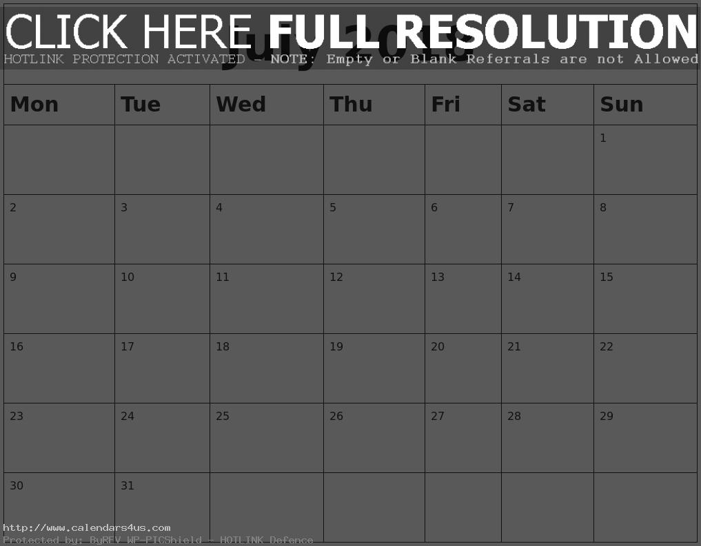 Calendar July 2018 Singapore