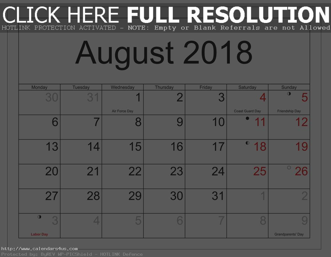 August 2018 Calendar with Moon Phases