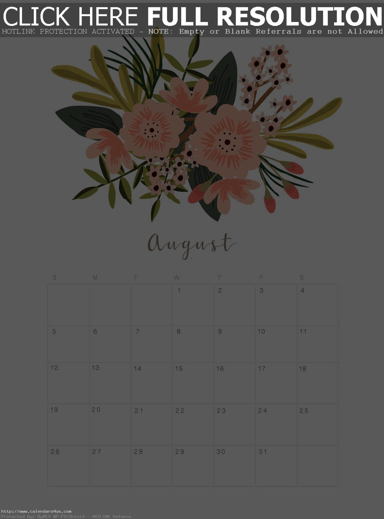 Print August 2018 Floral Calendar