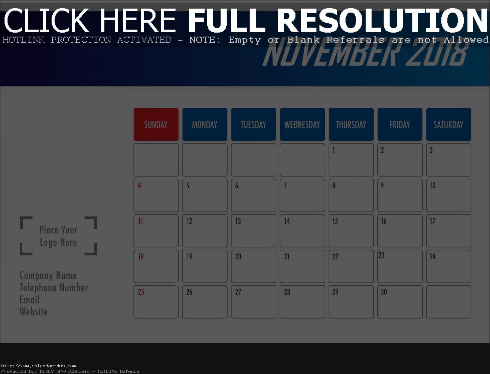 November 2018 Desk Calendar