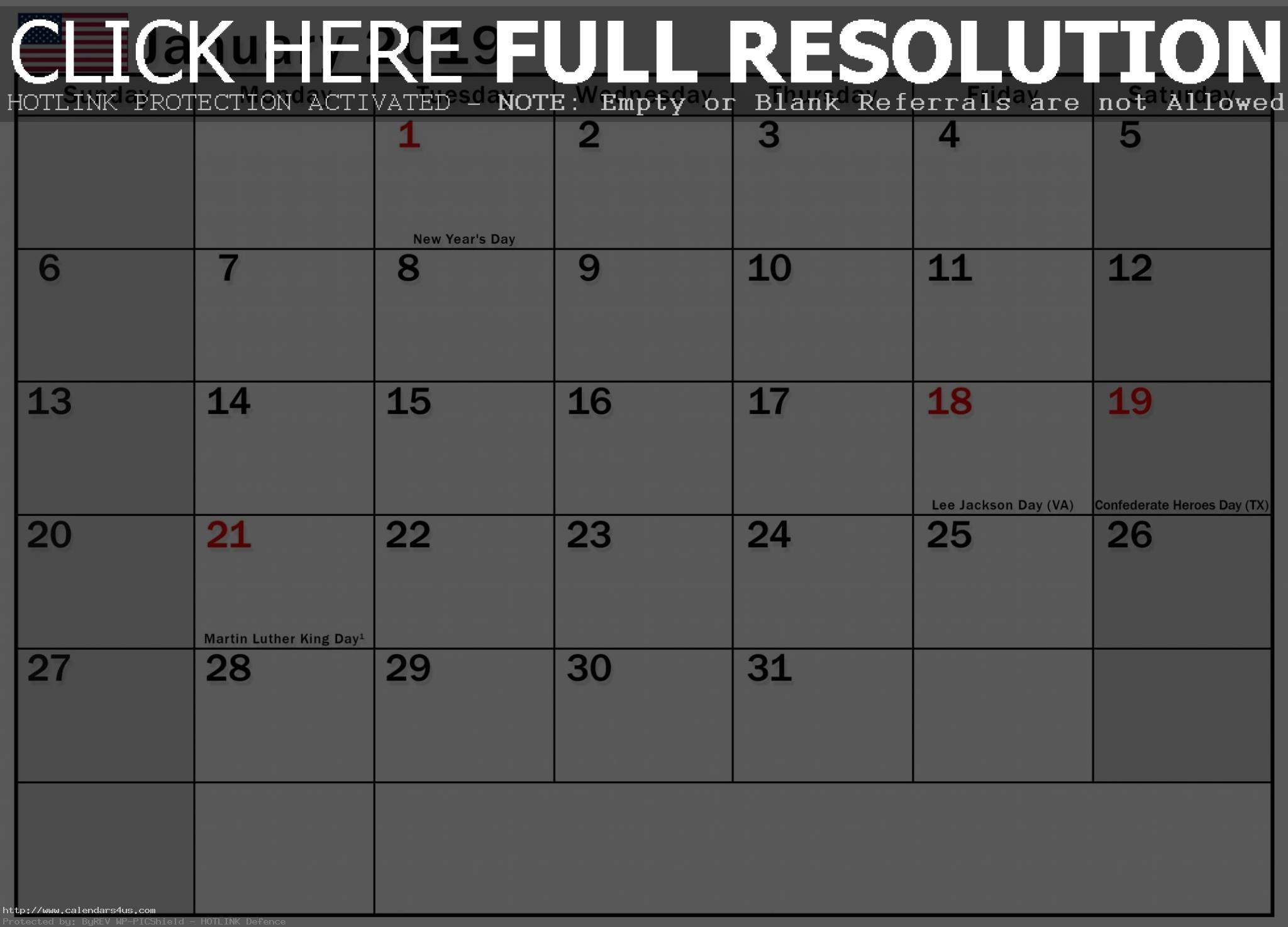 January 2019 Calendar USA