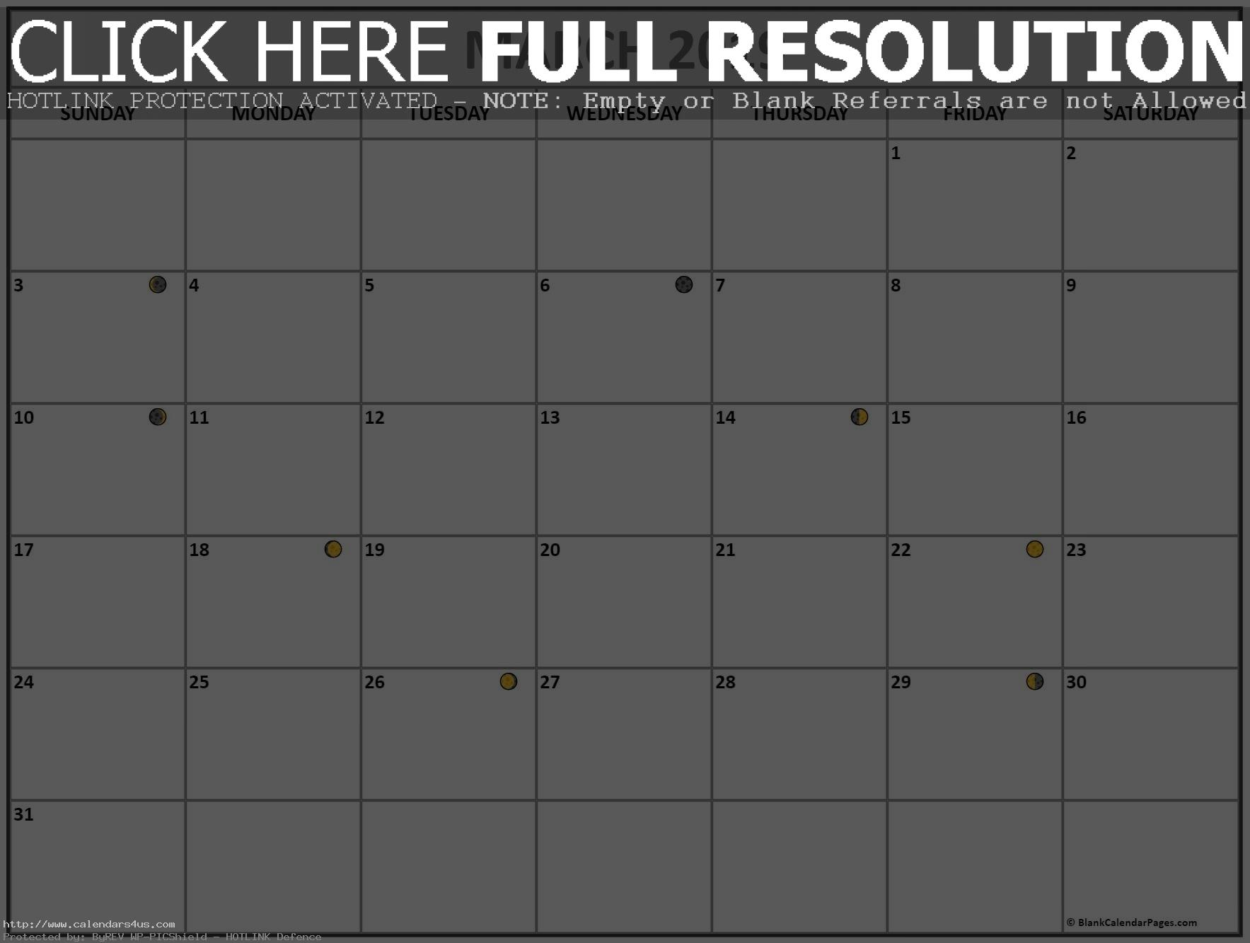 Printable March 2019 Calendar Moon Phases